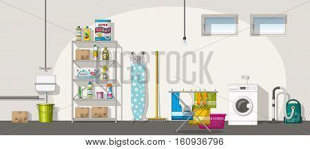 Illustration of interior equipment of a basement panorama