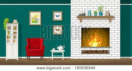Illustration of interior equipment of a living room with fire place