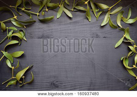 Green mistletoe on wood desk. Nature background. Christmas