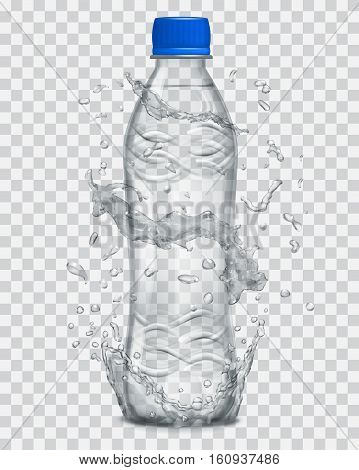 Transparent Water Splashes In Gray Colors Around A Transparent Plastic Bottle