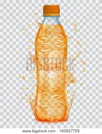 Transparent Water Splashes In Orange Colors Around A Transparent Plastic Bottle With Orange Juice