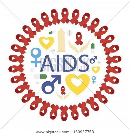 Set - World AIDS Day. Protect yourself from AIDS. Use a condom. The HIV virus. The test for HIV. Infographics. Red ribbon. Vector illustration.