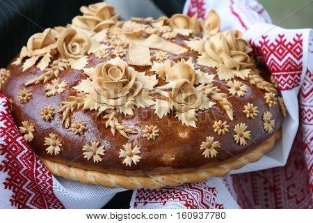 Traditional Ukrainian Wedding Loaf On An Embroidery Towel