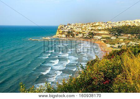 Peschici Gargano Italy Apulia seascape waves panorama