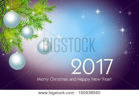 Illustration of purple blue christmas background with christmas bulbs and needles with text