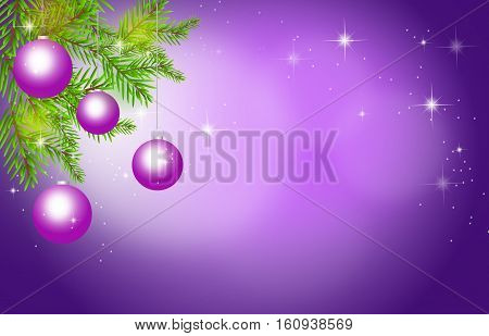 Illustration of purple christmas background with christmas bulbs and needles