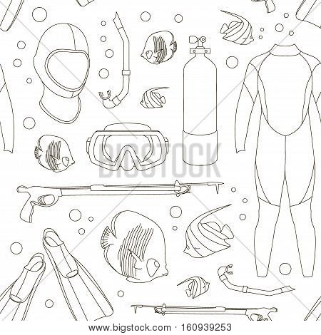 Diving equipment pattern. Aqualung, oxygen cylinders, depth gauge, flashlight, snorkel and mask, flippers and gloves and speargun