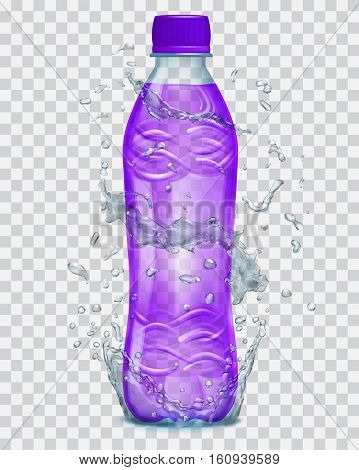 Transparent Water Splashes In Gray Colors Around A Transparent Plastic Bottle With Purple Juice