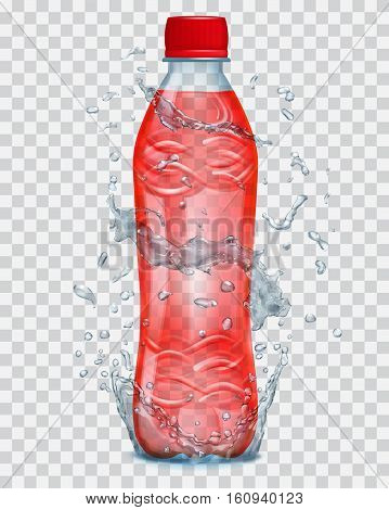 Transparent Water Splashes In Gray Colors Around A Transparent Plastic Bottle With Red Juice