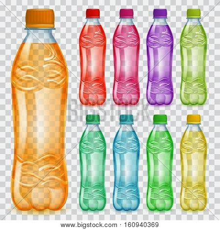 Set Of Transparent Plastic Bottles With Multicolored Juices