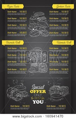 Restaurant vertical scetch sushi menu design on blackboard, Back
