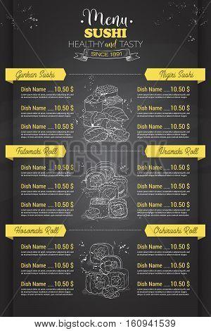 Restaurant vertical scetch sushi menu design on blackboard, Front