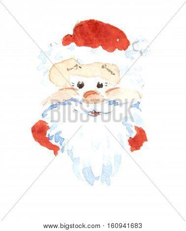 Santa Claus smiling sticker icon trade mark. Watercolor