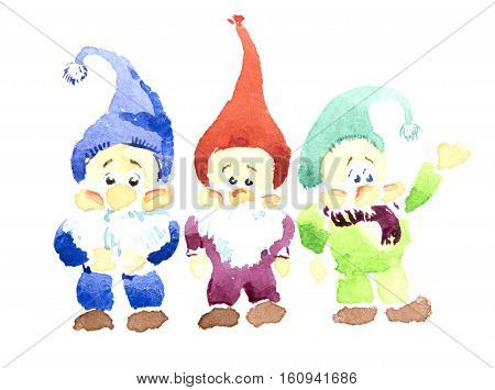 Three gnomes standing beside each other. Little watercolor gnomes cartoon