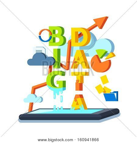 Big data, cloud computing and storage concept. Data files and statistics being synchronized with mobile smart phone. Modern flat style vector 3d illustration isolated on white background.