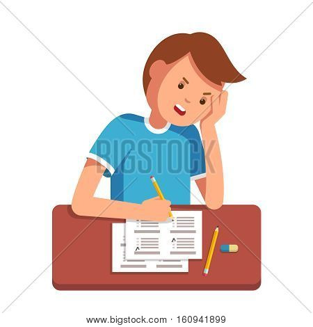 Stressed school student filling out answers to exam test answer sheet with pencil sitting at a classroom desk. Not knowing answers. Modern flat style vector illustration isolated on white background.