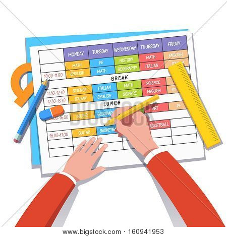 School teacher or student drawing a class schedule with pencil and ruler. Modern flat style concept vector illustration isolated on white background.