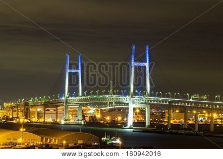 Nightview of Yokohama Bay Bridge in Kanagawa, Japan.