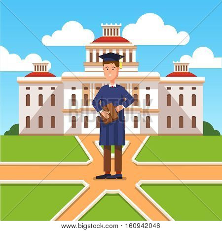 Young graduated bachelor standing in front of his university and making decision about his future career. Modern flat style concept vector illustration isolated on white background.