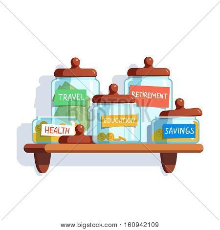 Coins and money in glass jars with labeled savings standing on the shelf. Modern flat style concept vector illustration isolated on white background.