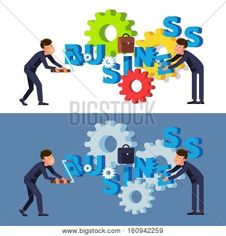 Two businessman rotating cog wheels of business. Management teamwork and efforts. Modern flat style concept vector illustration isolated on white and black background.