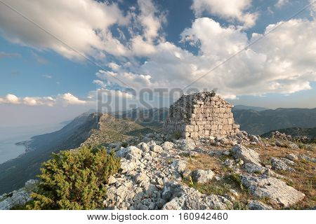 Old building on top of the Dinaric Mountains in Croatia.