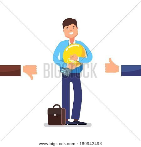 Young entrepreneur standing and holding new idea in form of lightbulb in hands waiting for people approval. Modern flat style concept vector illustration isolated on white background.