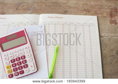 project planner yearly passbook bank for financial expenses and income
