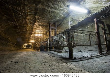 Old carnallite ore salt mine shaft tunnel passage