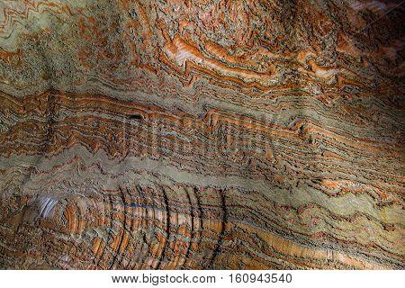 Abandoned varicoloured salt mine shaft tunnel carnallite