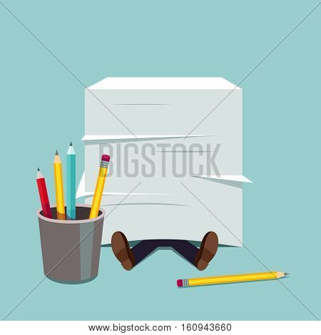 Business man buried under huge document paper pile. Paperwork stress pressure metaphor. Modern flat style vector illustration.