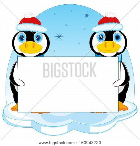 Penguins in hat on block of ice with poster
