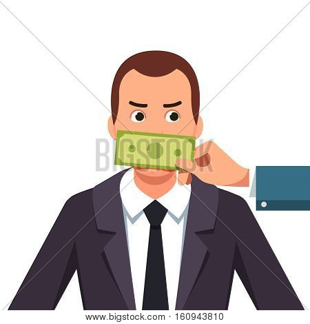 Hand with cash money banknote covering politician or business man mouth buying silence telling him to shut up. Lobbyist corruption concept. Flat style vector illustration isolated on white background.
