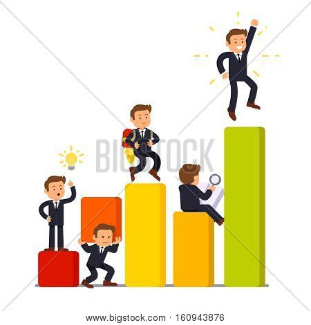 Stages of business development and growth from initial idea to a market leadership. Little businessman characters working in various poses on a bar graph. Flat vector illustration on white background.