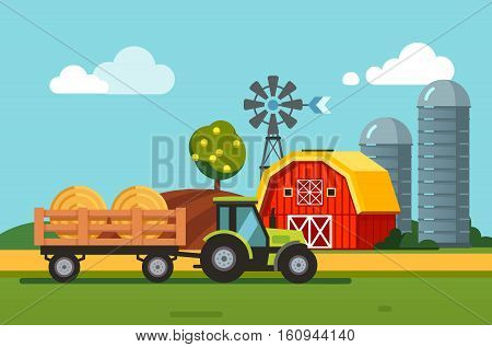 Farm meadow scenery barn, grain silos, wind generator and tractor towing hey bales loaded to a trailer. Modern flat style vector illustration.