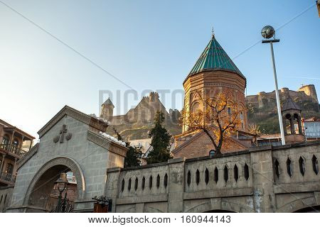 Tbilisi, Georgia - November 25, 2016. View Of Xiii Century St George Cathedral, Armenian Church On T