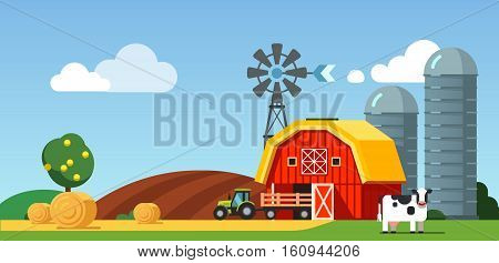 Farm arable field and meadow scenery, cow standing near barn, grain silos, wind generator and tractor with trailer. Modern flat style vector illustration.