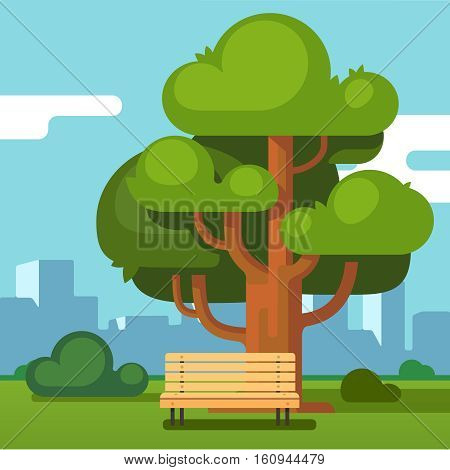 City park bench under a big green oak tree with urban landscape in background. Modern flat style vector illustration.