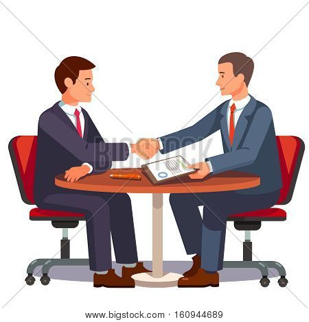 Businessman shaking hands on a signed contract. Business handshake over a round negotiations table. Modern flat style vector illustration isolated on white background.