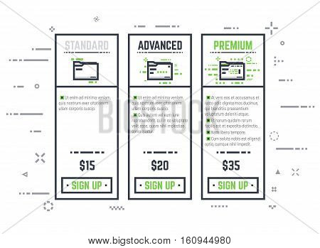 Thick line pixel graphic style pricing table for internet business or hosting provider with sign up button. Three different variations of folder with ranks and prices. Abstract lines and dots background.