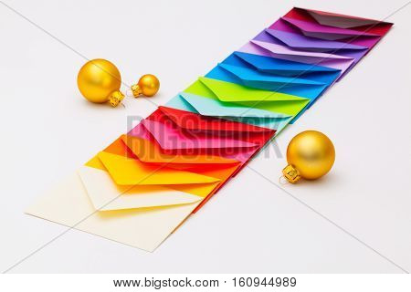The Different colored envelopes with Christmas decorations