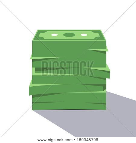 Big stack of dollar bills. Pile of money. Modern flat style vector illustration isolated on white background.