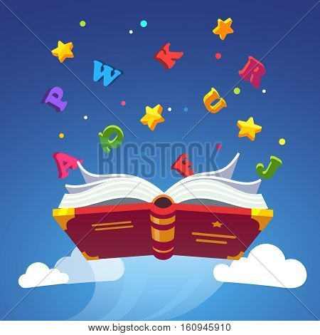 Magical book flying scattering alphabet letters. Opened primer. Magic of learning to read with ABC concept. Modern flat style vector illustration.