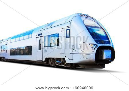 Red modern streamlined high speed passenger commuter train isolated on white background