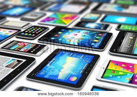 3D render illustration of the group of tablet computer PC and modern touchscreen smartphones or mobile phones with various internet applications and web apps with color interface and colorful icons and buttons isolated on white background