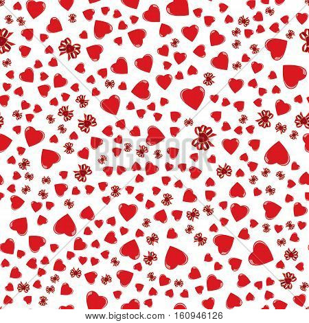 vector valentine seamless background with hearts and ribbons