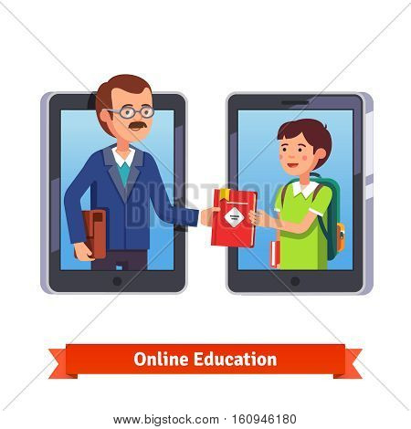 Online education concept. Student and teacher talking via video call with tablets or smartphone. Professor giving a book to a pupil on internet. Flat style vector illustration isolated on white.