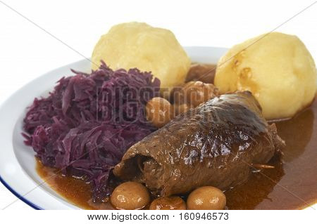 Raditional Bavarian Meal Withe Beef Roll And Potato Dumpling