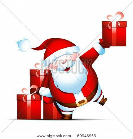 Santa Claus gives gifts. Bearded grandpa holds present in his hand. Isolated vector illustration