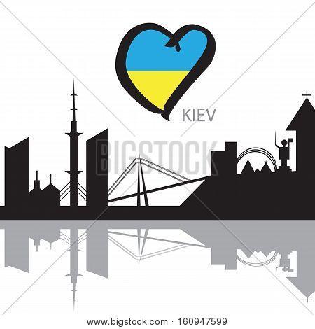 Kiev City skyline black and white silhouette. Vector illustration and Eurovision flag